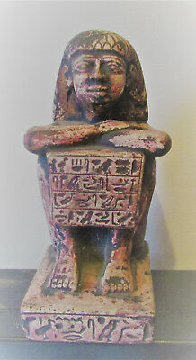 Scarce Ancient Egyptian Stone Statuette Of Seated Pharoah