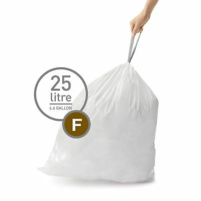 simplehuman Code Size F - Custom Fit Waste Bin Liners Bags - 25 Litres - 20 Pack