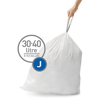 simplehuman Code Size J - Custom Fit Waste Bin Liners Bags, 30-45 Litres 20 Pack