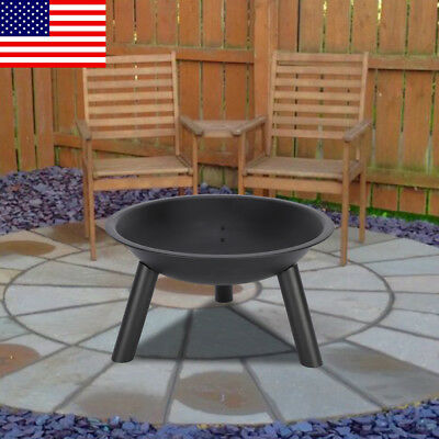 Garden  Cast Iron Fire Pit Bowl Black Round Patio Fire EXTRA LARGEOutdoor Steel