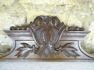 "39."" Antique French Carved Wood Architectural Pediment Panel Solid Oak"
