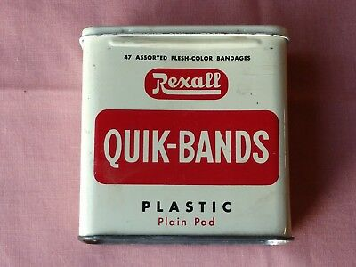 Vintage Rexall~QUIK-BANDS~Band-Aid Tin~Red and Off-White   #W 3181