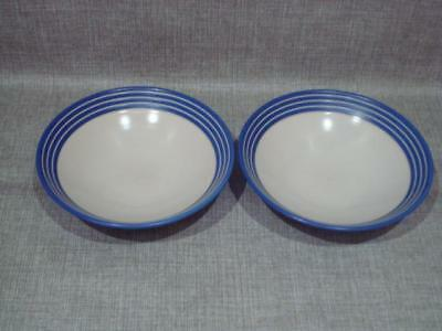 Denby Everyday Blue And White Stripes Cereal Bowls X 2
