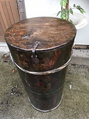 Antique 19c Chinese Hand Painted Lacquered Carved Wooden Rice Barrel