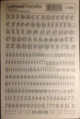 LETRASET TRANSFER RUB On Letters Numbers Old English Silver/Grey 7 0