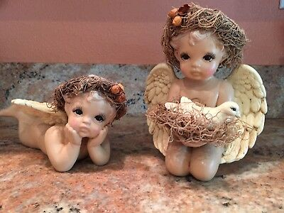 Vintage Terra Cotta Cherub Angel Cupid Pair Sculpture Shelf