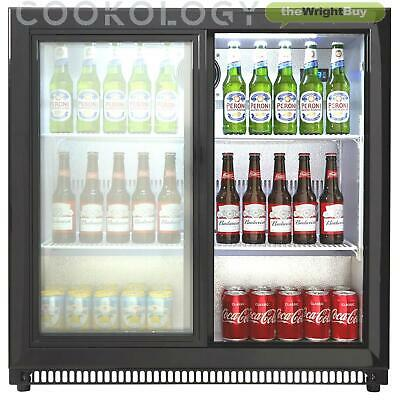 Cookology CCBF210BK Commercial Bar Fridge, Sliding 2 Door Bottle Display Chiller