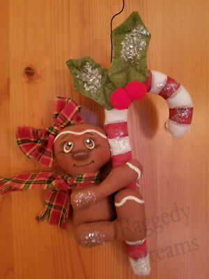 Handmade Small  Primitive Gingerbread Girl - Candy Cane - Christmas Ornament #1