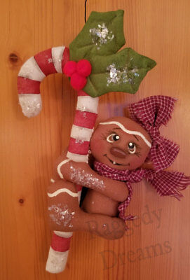 Handmade Small  Primitive Gingerbread Girl - Candy Cane - Christmas Ornament #2