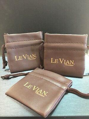 Authentic LeVian Jewelry Pouches - Chocolate Brown with Logo - Pack of 3 - NEW