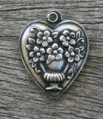 VINTAGE STERLING SILVER PUFFY HEART CHARM - Flowers in Vase or Urn with Handles