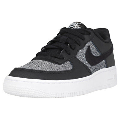 68ed20a428 Nike Air Force 1 Lv8 Gs Kids Black Grey Leather & Textile Trainers