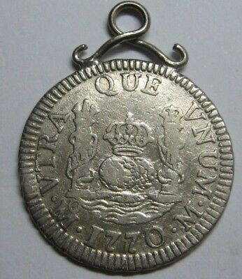 1770 Mexico 1 Real Charles Iii Spain Colonial Pillar Used For Pendant
