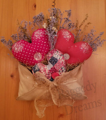 Primitive Hearts - Hanging Red Valentine Heart Envelope - Dried Flowers #3