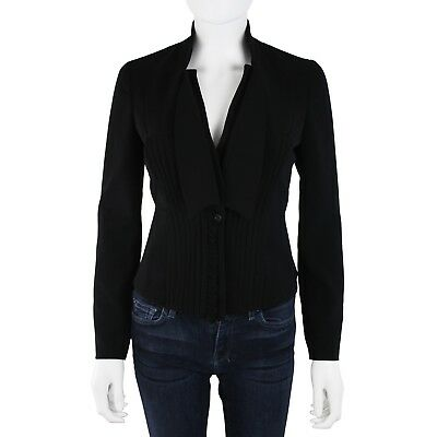Givenchy Womens Black Pleated Button Front Suit Blazer Jacket sz 36 US 0
