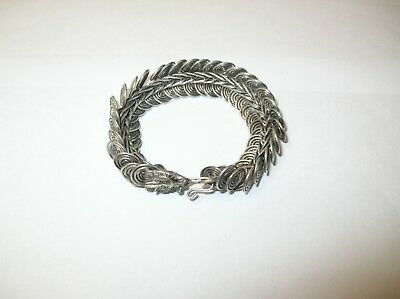 Hmong Miao Silver Totem Dragon Bracelet Bangle Hand Craft Chinese Hill Tribe