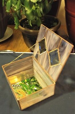 Antique Stained Glass Jewelry Box - Great Christmas Gift