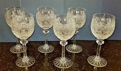 6 pcs. cut crystal stemware glasses, Czech Republic