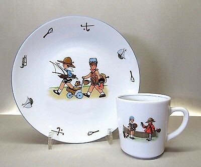 Pier 1 Imports .. Vintage Style .. Child's 7 Inch Porcelain Plate And Cup Set