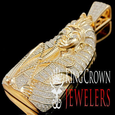 10K Rose Gold Over Real Silver Charm Egyptian Pharaoh King Tut Diamond Pendant
