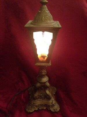 Antique Ornate Gothic  Lantern Lamp With Hand Painted Ribbed Glass Panels