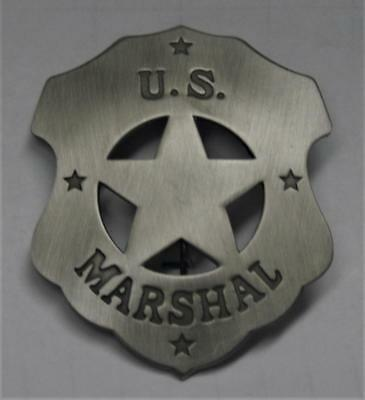 New Reproduced US Marshal Shield Style Badge Star in Center Double Stamped