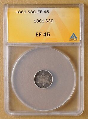 1861 Three Cent Silver ANACS EF 45