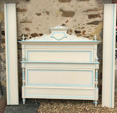 Superb French Antique Painted Style Large Double Bed