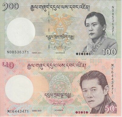 "Bhutan Banknote P31-32 50 Ngultrum 2013 & 100 Ngultrum 2011, ""The Pair"", UNC"