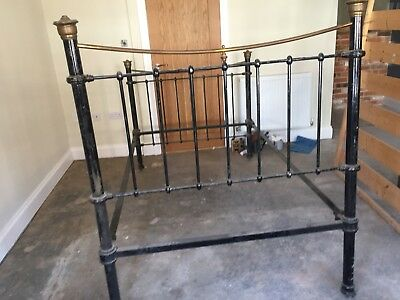 Small Double Victorian Brass And Iron Bedstead