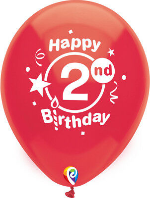 8 Happy 2nd Birthday 12 Latex Balloons Assorted Colors Helium Quality Fun Party