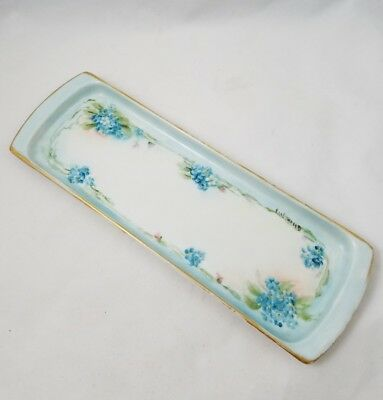 Hand Painted Porcelain Butter Dish Tray - Blue Flowers - c 1884-1909 MZ Austria