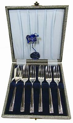Stanley Rogers Sheffield England Silverplate EPNS Cake Forks in Pitcher Box