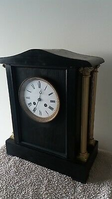 Large Antique Four Pillar Wood Cased 8 Day Bell Ringing Mantle Clock.circa 1880