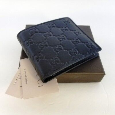 afbae7b909efe6 New Gucci Authentic Mens Black Bi fold Guccissima Wallet w/ Coin Pocket w/ Box