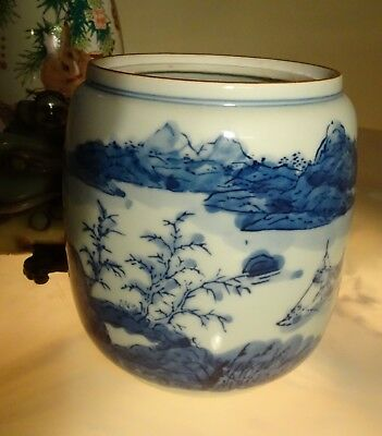 Antique Asian Porcelain  Vase Hand Painted and Thrown Signed Blues Excel.