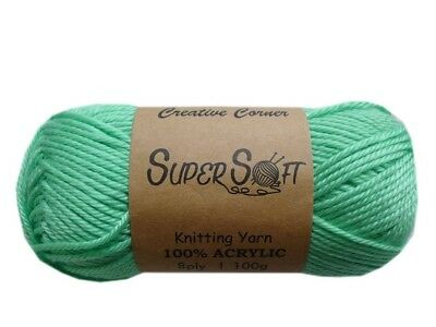 Bulk 14 Super Soft 8 Ply Knitting Yarn Wool 100G 100% Acrylic Mint