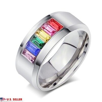 7mm Stainless Steel Multi-color Rainbow Rhinestone Wedding Engagement Ring Band
