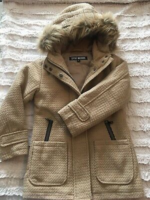 c6401478373 MADDEN GIRL FAUX Wool Jacket Toggle Hooded Buttons Winter Pea Coat ...
