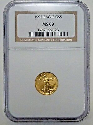 1992 $5 Gold American Eagle 1/10th oz. NGC MS69  BU LOW Mintage