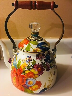 Mackenzie Childs Flower Market 2 Quart Tea Kettle White