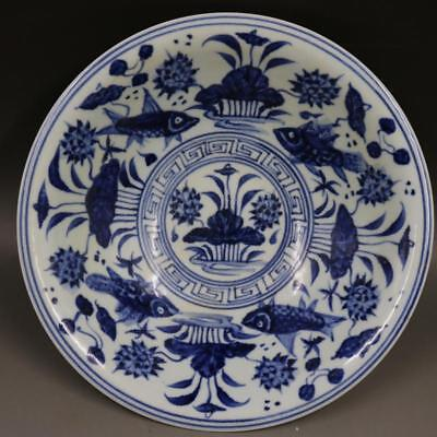 Fine Chinese Ming Dynasty Blue White Porcelain Flowers Plants Hat bowl