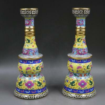 A Pair Fine Chinese Qing Dynasty colour enamels Porcelain candlestick