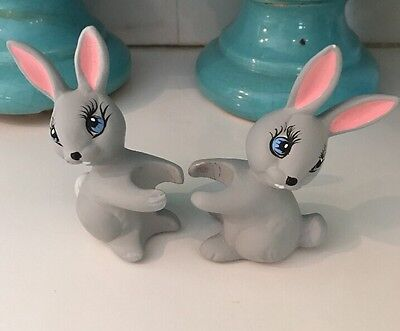 Vintage Set of 2 Ceramic Easter Bunny Rabbits Candle Climbers Huggers w/ Candles