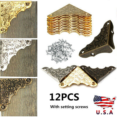 12Pcs/set Antique Jewelry Corner Wooden Box Frame Feet Leg Decorative Protector