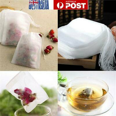 100X Disposable Tea Bags Empty Drawstring Seal Filter Tea Bags for Leaf Tea AU