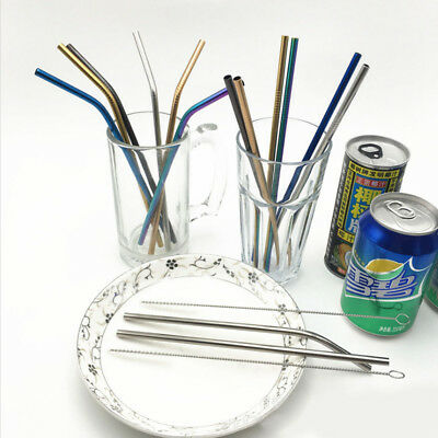 8pcs Stainless Steel Metal Drinking Straw Straws Bent Reusable and 2 Brushes Eco