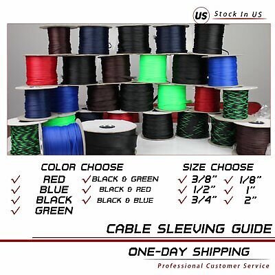 30FT All Sell Sizes & Colors Expandable Cable Sleeve Braided Sleeving Tubing LOT