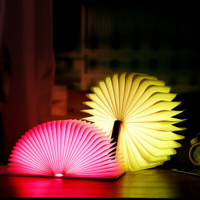 USB Rechargeable Colorful LED Wooden Folding Book Shape Light Desk Night Lamp G