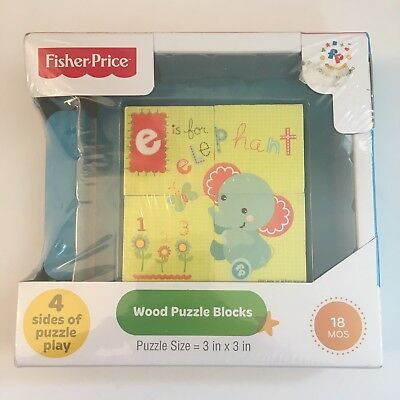 Fisher-Price WOOD PUZZLE BLOCKS Four Sides -- 18 Months -- NEW SEALED